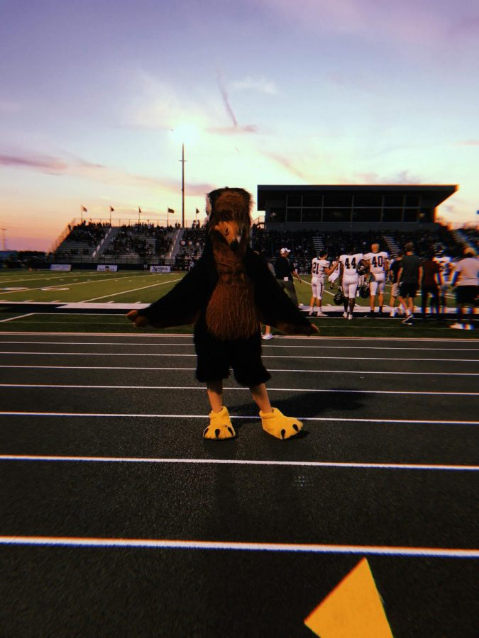 Grover, with junior Gracie Carr inside the suit, poses on the sidelines of a away game last school year.