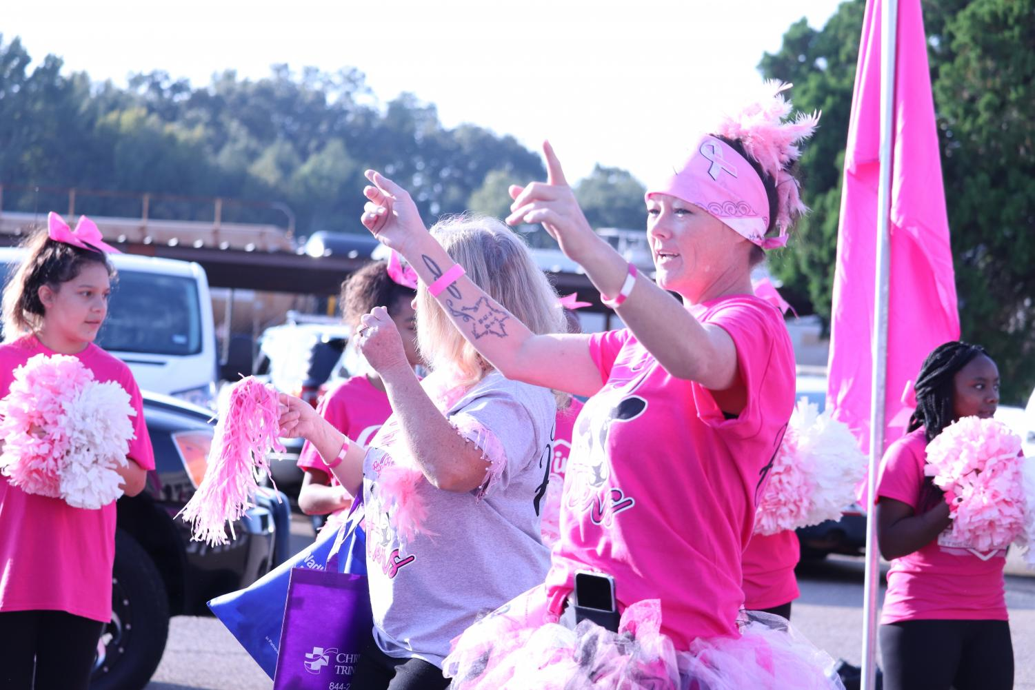 Women show their support for Race for the Cure.