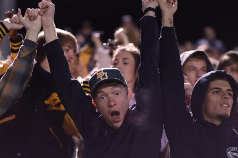 Senior Connor Hornsby looks shocked as the Hawks score another touchdown in the fourth quarter.