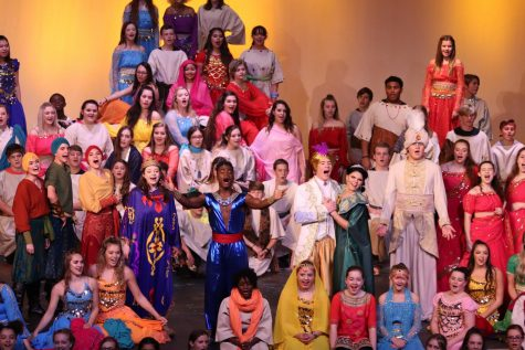 The last scene of the musical 'Aladdin' shows the full cast on the stage for a final musical number. The musical was received well among the audience, and each of the seven showings were completely full.