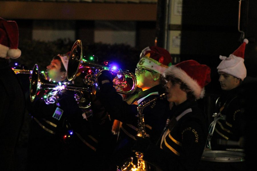December 11, 2019 – The Pride in Motion Band marches in the annual Christmas Parade.