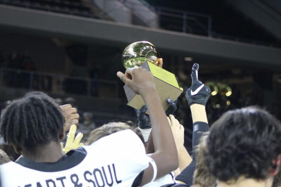 At the end of the game, the football team holds up a trophy for winning the game. By beating Salado High, we become the Area Champions for the third year consecutive year in a row. The trophy reads, 2019 Area Champions.