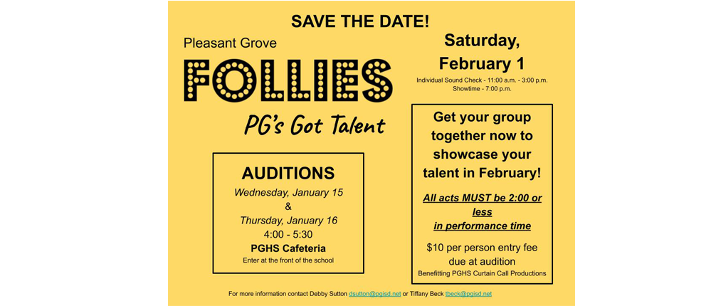 The Follies takes place every year at PG in January. Students have the opportunity to showcase their talents for their peers and experience live performance.