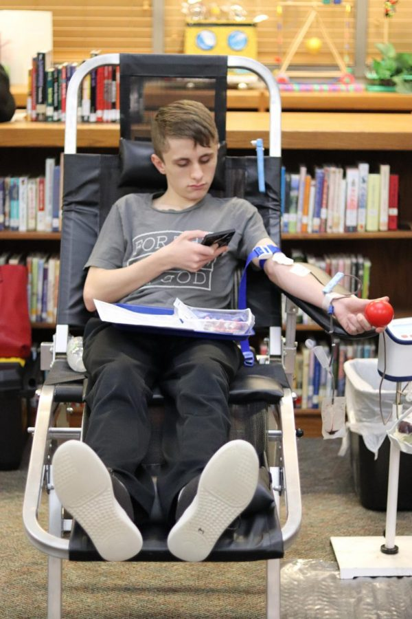 February 12, 2020 — Students gave blood today in the library.