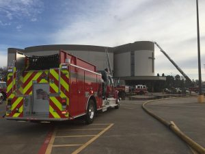 On Sunday, March 8, First Baptist Church's parking lot was filled with firetrucks and vehicles helping to put out the fire.