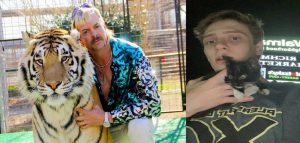 Carson Sanders next to Joe Exotic, commonly known as the 'tiger king' on the popular Netflix show. Photograph of Carson and his cat taken on the night of him getting her at the Richmond Road Walmart gas station.