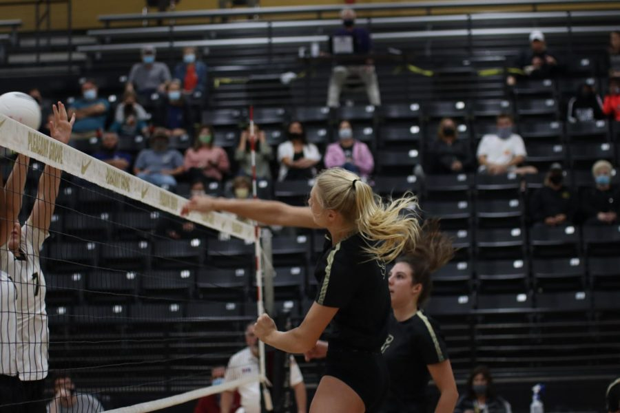 Junior Harleigh O'Neal makes a spikes the ball during a home game against Gilmer.