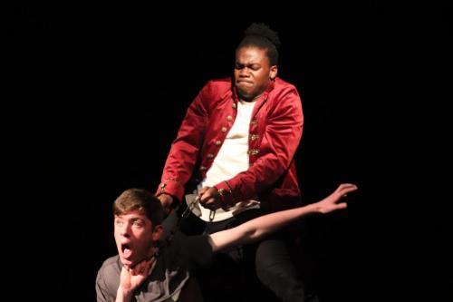 Sophomore Clayton Jones and junior Donald Whaley preform a scene of their OAP, Les Miserables.